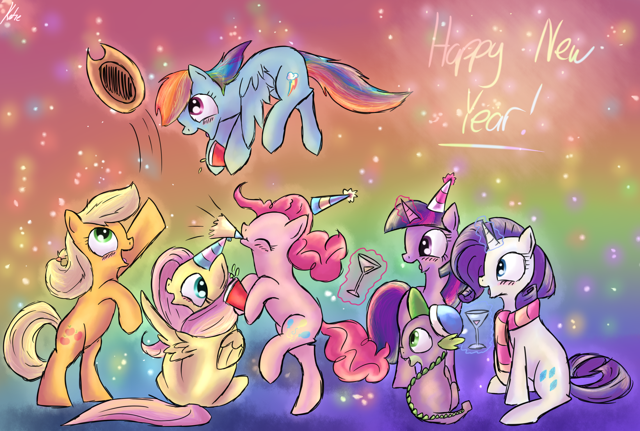 Happy new year from all the animals gif